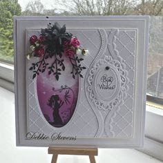 Hi everyone, Im using my Lavinia stamps again, just love em, also used Spellbinders grand squares, Spellbinders jewel framed sentiments, Spellbinders curved borders 2, Lavinia stamp and background ...