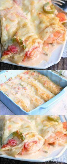 Spicy Creamy Shrimp Enchiladas (use corn tortillas for GF) | from willcookforsmiles.com #dinner #enchilada #seafood