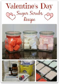 Sugar Scrubs - Simple recipe for a perfect hand made gift! #valentinesday