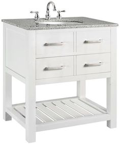 "Fraser Bath Vanity, $499 includes vanity, top and sink. Faucet extra. This may be too modern for your taste, but it could be a good option for the downstairs bath. Looking at your plans it may be too wide. I am going to guess we need to find a 30"" wide model."