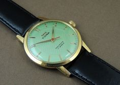 Vintage HMT Sona Hand Wind 17J India Mechanical Watch Green Dial Gold Plate Case #HMT #Casual