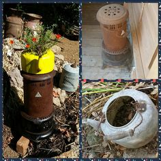 Fixing up metal from the pile for the garden with yellow rustoleum and clear coat.old fuel stove and tea kettle planter and stand. Reuse, Kettle, Stove, Repurposed, Recycling, Planters, Diy Projects, Tea, Yellow