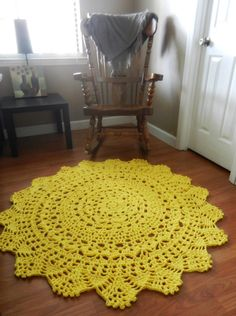 Yellow Doily Round Rug, Crochet Rustic Rug, Shabby Home Decor, French Country chic Rug, Nursery Rug, floral rug, floor mat, carpet, door mat