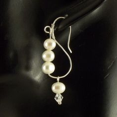 Wire Sculpted Sterling Silver Earrings Freshwater Pearls - product images of