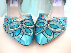 Wedding shoes Tiffany blue butterflies and Swarovski by norakaren, $250.00