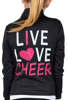 Get your Cheer on in our Girl's Rayon Live Love Cheer Jacket! Our Cheer Jacket is made out of a lightweight Rayon/Poly/Spandex fabric blend. This warm up jacket is great for cheer practice and competitions!Show off your child's passion for cheer! Washing machine friendly, our Live Love Cheer text is created from premium glitter vinyl that won't wear or wash away in the washer!