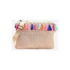 SheIn(sheinside) Beige Tassel Trim Straw Clutch Bag ($17) ❤ liked on Polyvore featuring bags, handbags, clutches, beige, straw handbags, straw purse, beige clutches, straw clutches and tassel purse