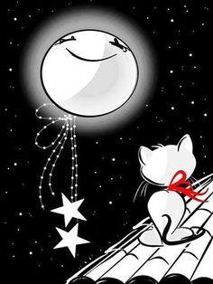 I cassetti vanno riempiti di sogni…le persone d'amore. Good Night Sweet Dreams, Good Night Moon, Good Night Image, Beautiful Moon, Beautiful Birds, Drawing Tutorials For Beginners, Paper Moon, Merry Christmas Card, Cat Drawing