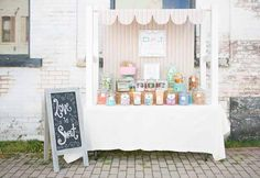 Welcome to the vintage candy shop: sweet table from candy by katie, niagara wedding and portrait photographer Market Stall Display, Market Stalls, Market Displays, Deco Cupcake, Stand Feria, Craft Fair Displays, Craft Booths, Display Ideas, Old Fashioned Candy
