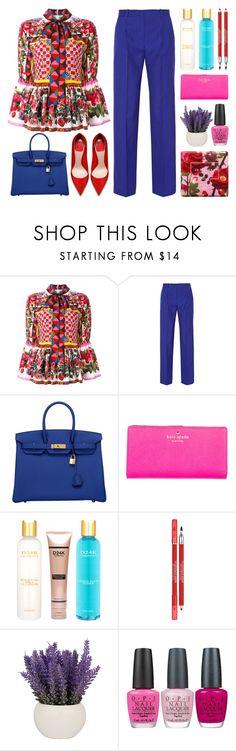"""Flower Power"" by stavrolga on Polyvore featuring Dolce&Gabbana, Jonathan Saunders, Hermès, Kate Spade, D24K Cosmetics, Lancôme, OPI and Jo Malone"