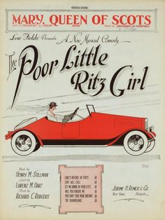 """MUSICAL COMEDY: Song sheet cover from song """"Mary Queen of Scots: in Poor Little Ritz Girl. Music by Richard Rodgers, 1920"""