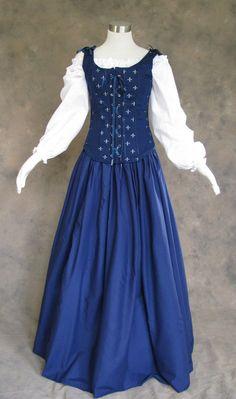Navy Blue Renaissance Faire Wench Bodice Outfit Pirate Costume | Etsy Renaissance Fair, Renaissance Wedding, Gown Skirt, Medieval Dress, Halloween Dress, White Long Sleeve, Wedding Gowns, Bodice, Navy Blue