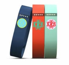 Fitbit monogram. Cursive, no background color (see middle option) in white or aqua/teal