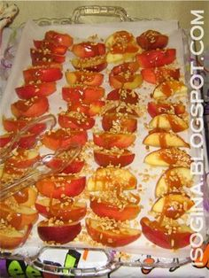 Caramel apple slices  Sliced apples {soak in orange juice until ready to serve & dry thoroughly} Caramel ice cream topping crushed peanuts  On a serving platter, lay out apple slices. Drizzle with caramel sauce and sprinkle with crushed peanuts. Easy Peasy.