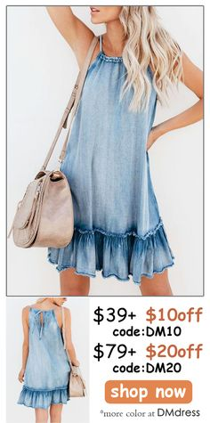 24d466a9891 Catch the trending style with this fashion denim halter plain ruffled dress.Explore  more at. DMdress Fashion