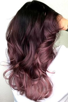"""This spring, we're seeing so many fun hair color options for brunettes—from pink to an earthy shade of """"mushroom."""" This is """"Dusty Lavender"""" by Hair Color And Cut, Cool Hair Color, Hair Colour, Amazing Hair Color, Dye My Hair, New Hair, Ombre Hair Long Bob, Cabelo Rose Gold, Lilac Hair"""