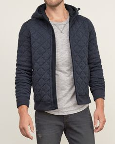 Cool and comfortable featuring a contrast quilted exterior, a drawcord hood, a center-front zip closure, front pockets, ribbed trims and a logo patch at left sleeve, Imported<br><br>100% Polyester All American Clothing, Hooded Jacket, Winter Jackets, Hoodies, Tees, Coat, Casual, Sleeves, Sweaters