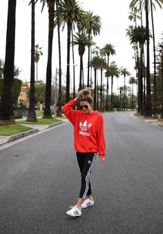 Obsessed with this hoodie (UNDER $100) got it in both colors! DETAILS: RED ADIDAS HOODIE (UNDER $100 – WEARING SIZE MEDIUM) | STRIPED SWEATS (UNDER $100 – WEARING SIZE XS – ALSO G…