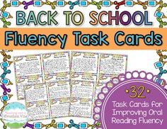 32 Fiction Back to School Oral Reading Fluency Task Cards with varied sentence types to help your students practice their oral reading fluency! Perfect small group, whole group, or independent center fluency activity. Fluency Practice, Reading Practice, Reading Centers, Reading Fluency, Sentence Types, Phrases And Sentences, Fluency Activities, Prefixes And Suffixes, Independent Reading