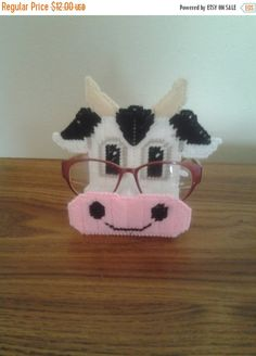 AFTER CHRISTMAS SALE plastic canvas cow peeper keeper eye glass holder by evashandcrafts on Etsy