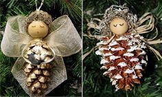 creative Cristmas crafts ideas natural materials DIY christmas angel pine cones …