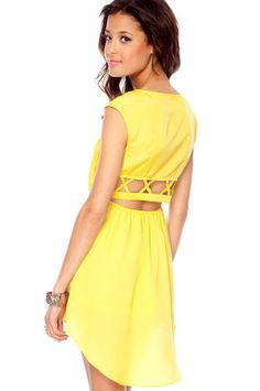 my favorite color AND a cool back    Nexxt Summer Dress in Lemon $50 at www.tobi.com