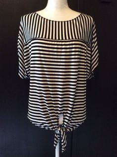 b54ddfe8679 Chico s Top size 1 pink white rhinestone striped tie front short sleeve  womens