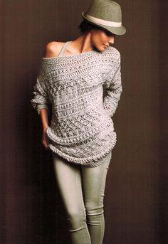 Jersey lana very nice Crochet Wool, Crochet Shirt, Handgestrickte Pullover, Crochet Fashion, Crochet Clothes, Hand Knitting, Knitwear, Knitting Patterns, Sweaters For Women