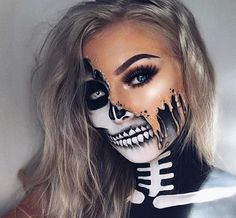 23 Halloween-Skelett-Make-up-Ideen - Frisuren.it - Halloween make-up - Unique Halloween Makeup, Halloween Makeup Looks, Halloween Skeleton Makeup, Halloween Make Up Scary, Skeleton Face Makeup, Skull Face Makeup, Skeleton Face Paint, Halloween Makeup Glitter, Amazing Halloween Costumes