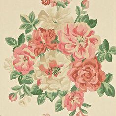 Red / Green - DCAVMI103 - Midsummer Rose - Caverley - Sanderson Wallpaper