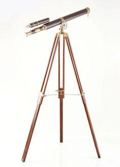 Teleskop Castleknock Messing mit Leder 9476. Buy now at https://www.moebel-wohnbar.de/teleskop-castleknock-standteleskop-messing-mit-leder-retro-design-9476.html