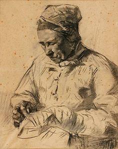 Henri de Toulouse-Lautrec, LA RAVAUDEUSE, Charcoal drawing on paper