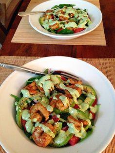spinach & arugula salad with shrimp, avocado, and a cilantro lime yogurt dressing