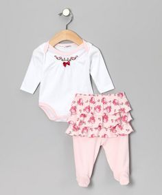 Take a look at this White & Pink Floral Bodysuit & Skirted Footie Pants by Rumble Tumble on #zulily today!