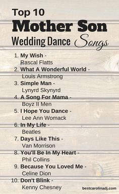 19 best Mother son dance songs images on Pinterest | Wedding ideas ...