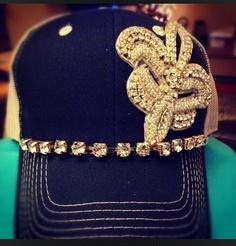 Navy blue trucker hat with rhinestone fleur de lis and rhinestone chain via Etsy.