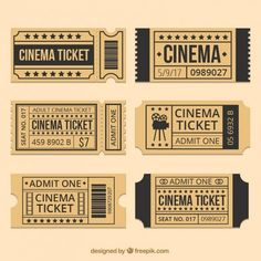 Brown Movie Tickets With Black Details - Theater - Brown Movie Tickets With Black Details - Theater - Journal Stickers, Planner Stickers, Printable Stickers, Cute Stickers, Deco Cinema, Kalender Design, Cinema Ticket, Theater Tickets, Ticket Design