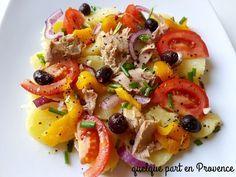 Le repas de ce soir. Une salade pas très originale, mais il fait une chaleur épouvantable, pas de cuisson à part les pommes de terre au micro onde. Pour 2 personnes 4 pommes de terre (suivant grosseur) 2 belles tomates (je préfère les tomates cerise,...