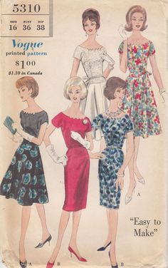 One Piece Dress 2 Skirt Styles Easy Vintage Vogue Sew Pattern 5310 Uncut Sz 16 #Vogue #vintagedress2skirtstyles