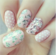 spring vintage light pink nail art bmodish