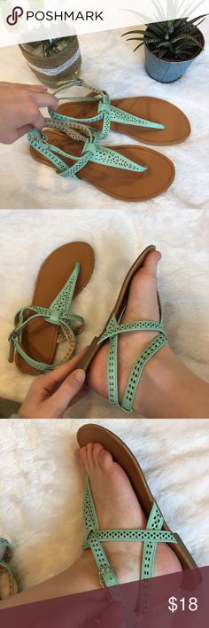 Strappy Cutout Sandals, Shoes Adorable mint green/light blue sandals! Tan bottoms. Adjustable straps. Cute cutout pattern. Slightly used but still in great condition! Shoes Sandals