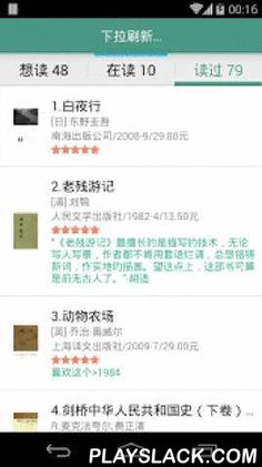MyDoubanBooks  Android App - playslack.com , (douban is a Chinese website just like goodreads.com)The functions of MyDoubanBooks:1.show your book collection(read,reading,wish) in douban2.search books through douban.com3.change your book collection4.view the reviews and annotations of books in douban(Thanks for you donation:谢钱军,虞明鹏,李婕,周志鹏)