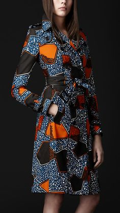 Burberry Prorsum eclectic print trench coat Cotton trench coat in a vibrant eclectic print Horn buttons engraved wtih Burberry Prorsum logo Tapered wai African Print Fashion, Africa Fashion, African Fashion Dresses, Fashion Prints, Fashion Outfits, Fashion Patterns, Women's Fashion, African Wear, African Dress