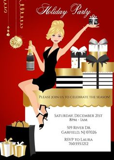 Celebrate the holidays and invite your family and friends with Elegant Christmas Party Invitations from Announce It! Available in African American also. Cocktail Party Decor, Christmas Cocktail Party, Christmas Cocktails, Xmas Party, Holiday Parties, Birthday Parties, Party Party, Party Ideas, Cocktails For Parties