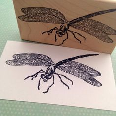 Large Dragonfly Rubber Stamp by 100 Proof Press by 100ProofPress