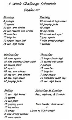 4 week beginner challenge
