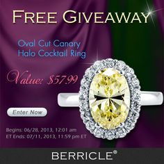 giving away this stunning canary ring, enter now! (Prize: Oval Cut Canary CZ 925 Sterling Silver Halo Cocktail Ring 2.99 Ct) BERRICLE.com