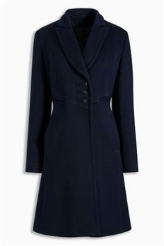 Buy Navy Fluted Epsom Coat from the Next UK online shop