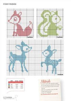 cute woodland animals cross stitch pattern fox deer squirrel Acodktpr