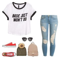 """""""read the d"""" by moonhauntedmyocean ❤ liked on Polyvore featuring H&M, Frame Denim, Converse, MICHAEL Michael Kors, Inverni, Yves Saint Laurent, women's clothing, women, female and woman"""